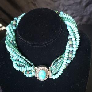 Multi strand turquoise choker necklace